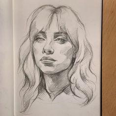 Girl Drawing Sketches, Sketchbook Drawings, Portrait Sketches, Easy Portrait Drawing, Abstract Portrait Painting, Billie Eilish, Outline Drawings, Easy Drawings, Realistic Face Drawing