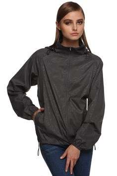9b3cf75871e Pagacat Women s Lightweight Packable Raincoat Outdoor Active Hooded Cycling Rain  Jacket (Gray