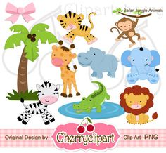 Safari Jungle Animals Digital Clipart Set for-Personal and Commercial Use-Card Design, Scrapbooking, and Web Design Clipart, Animal Set, Jungle Animals, Jungle Safari, Kids Animals, Jungle Nursery, Safari Party, Nursery Art, Animal Faces