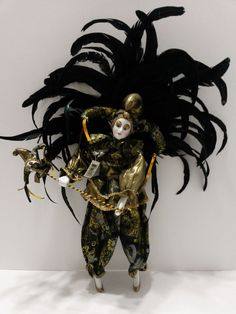 """Harlequin Porcelain Doll Jester/Clown Figurine with Removable Feathers 16"""" tall"""