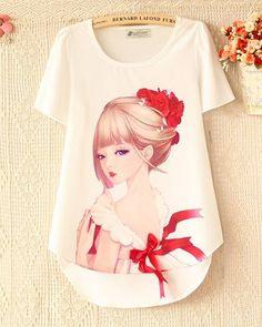 tops de renda de moda blusas mulheres de manga curta chiffon camisas pequeno bordados chiffon blusas - Pesquisa Google