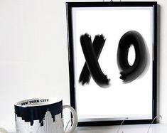 Motivational print XO Baci e Abbracci Phrase Print-inspired black and white Home Decor Gift Idea handwritten letterpress