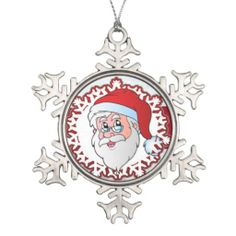 Shop santa Claus, red Snowflake Pewter Christmas Ornament created by MehrFarbeImLeben. All Friends, Santa Clause, Seasons, Christmas Ornaments, Holiday Decor, Red, Design, Christmas, Papa Noel