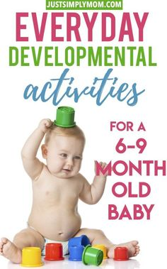 Your 6 to 9 month old baby is advancing in their development drastically. Find a ton of activity ideas for your developing baby to improve play skills from fine motor, cognitive, problem solving, and language. In this age range they will master sitting an Baby Sensory Play, Baby Play, Infant Play, 9 Month Olds, Baby Month By Month, 9 Month Old Baby Food, 9 Month Old Toys, Seven Month Old Baby, Infant Activities