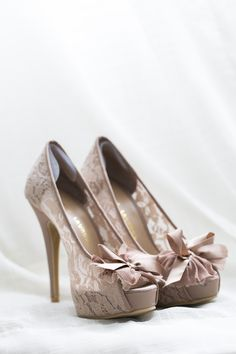 Lace wedding Shoes with open toe and bow