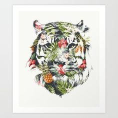 Buy Tropical tiger Art Print by astronaut. Worldwide shipping available at Society6.com. Just one of millions of high quality products available.