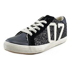 KIMZOZI Womens Glitter Low Fashion Sneaker Black 9 M US * Click affiliate link Amazon.com on image for more details.