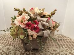 A Vintage Shabby Chic Floral Arrangement, Antique White, Rose and Yellow Spring Centerpiece, Wedding Centerpiece, Mothers Day Gift by SheilasHomeCreations on Etsy
