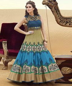 Buy Blue Bhagalpuri Readymade Gown 77587 online at lowest price from vast collection at Indianclothstore.com.