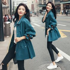 Fashion 2019 Autumn New Long Sleeve Long Windbreaker Women Vintage Drawstring Coats And Jackets Oversize Thin Plus Size Coat Fashion Drawing Dresses, Korean Fashion Dress, Kpop Fashion Outfits, Girls Fashion Clothes, Mode Outfits, Cute Casual Outfits, Pretty Outfits, Stylish Outfits, Estilo Cool
