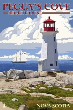 Peggy's Cove Lighthouse - Nova Scotia Giclee Gallery Print, Wall Decor Travel Poster) *** Visit the image link for more details. Lighthouse Pictures, Lighthouse Art, Nova Scotia, National Park Posters, National Parks, Stock Art, Vintage Travel Posters, Canada Travel, Illustrations