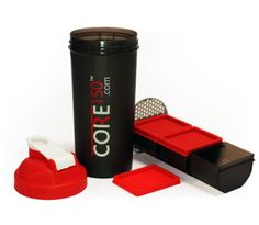 Core150 Red 1 Litre 35oz Protein Shaker Bottle with 3 Storage Compartments