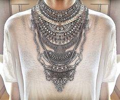 jewels necklace silver statement necklace chain crystal swarovski swarovski necklace handmade boho chic jewlery choker necklace