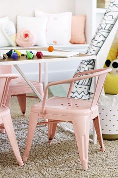 hunted interior: Playroom Makeover Cutest chairs for payroll Playroom Design, Kids Room Design, Playroom Decor, Kids Decor, Playroom Ideas, Playroom Paint, Playroom Table, Playroom Storage, Ikea Kids Table