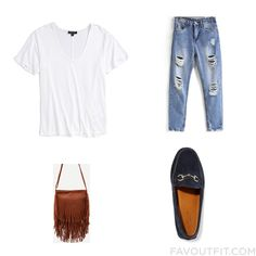 Look Collage Featuring Topshop T-Shirt Distressed Jeans Gucci Loafers And Brown Purse From August 2016 #outfit #look