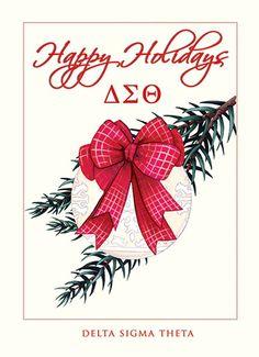 DST Aka Sorority, Alpha Kappa Alpha Sorority, Delta Sigma Theta, Sorority Gifts, Delta Art, Letter Organizer, Christmas Cards, Happy Holidays, Greek Life