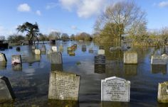 A graveyard is seen underwater in the village of Moorland in south west England February 7, 2014. Many areas of the Somerset Levels have bee...