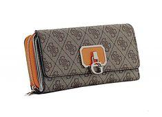 Damen Brieftasche Guess Alisa SLG Latte Orange 4G Marken Emblem Emblem, Slg, Latte, Beige, Pocket Wallet, Bags, Ash Beige