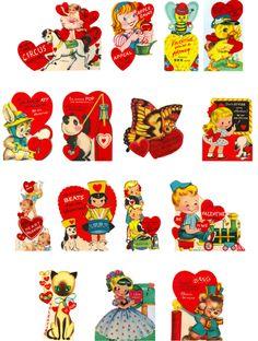free printable vintage valentine's day cards