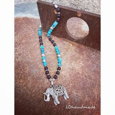 Beaded necklace with Silver Elephant . Leather Cord, Silver Charms, My Etsy Shop, Elephant, Beaded Necklace, Dots, Charmed, Turquoise, Gemstones