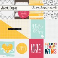 Choose Happy: Cards by Studio Basic and Two Tiny Turtles Becky Higgins, Tiny Turtle, Project Life Cards, Digital Scrapbook Paper, Pocket Cards, Journal Cards, Pattern Paper, Scrapbooking Ideas, Turtles