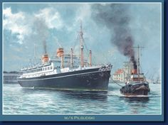 """MS Piłsudski"", autor: Grzegorz Nawrocki, 2013 Ship Paintings, Ship Art, Diesel Engine, Battleship, Titanic, Newcastle, Sailing Ships, Poland, Ocean"