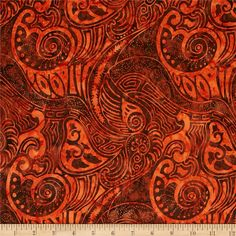 From Timeless Treasures, this Indonesian batik is perfect for quilting, apparel and home decor accents.  Colors include shades of orange and shades of brown.