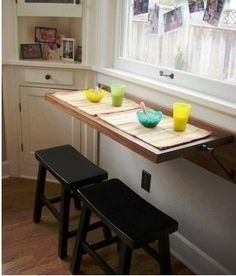 Fold down tables and collapsible counters are great options for temporary counterspace. #KitchenHack