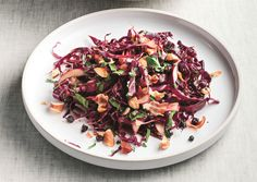 WONDERFUL for a nice autumn dinner.   Red Cabbage Salad with Warm Pancetta-Balsamic Dressing - Bon Appétit