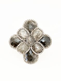 Sutra - 18K White Gold Rose Cut Gray Diamond Ring - at - London Jewelers