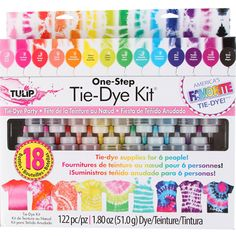 This Tulip One Step Tie Dye Kit contains all the tie dye party supplies you need: 18 dye bottles, rubber bands, gloves, table covers and instructions. Fête Tie Dye, Tulip Tie Dye, Tie Dye Party, Diy Tie Dye Kit, Tie Dye Supplies, Party Supplies, Craft Supplies, Ty Dye, Marker