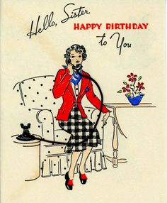 Vintage Norcross Birthday Greeting Card 40's Gal on Telephone 1501