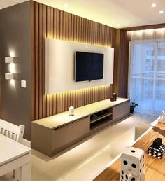 45 Modern Home Entertainment Centers That Will Inspired - Home Design Tv Stand Modern Design, Tv Stand Designs, Tv Cabinet Design Modern, Tv Unit Decor, Tv Wall Decor, Living Room Tv Unit Designs, Interior Design Living Room, Design Interiors, Modern Interior