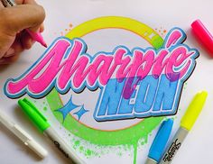 Few weeks ago, one of my favorite typography artist @kirillrichert made an art piece lollipop to show his preference and appreciation for the Sharpie markers brand. Following his lead, I decided to make my own little tribute to this brand that hands down makes the coolest markers I have ever used. The neon color that I get with these markers is impressive and with time, Sharpie Neon has become my top working tool. I really love the brightness and tones of color I get with these markers…
