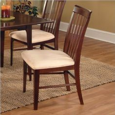 Atlantic Furniture Montreal Oatmeal Fabric Side Chair (Set of 2) - Caramel Latte by Atlantic Furniture. $247.95. The Atlantic Furniture Montreal Dining Side Chairs are constructed from Eco-friendly solid hardwood and have an elegant wood finish. This set of two dining side chairs feature a vertical slat back design and an Oatmeal colored seat cushion. The Montreal Dining Side Chairs are perfect for a casual dining room setting. Features: Includes set of two chairs Eco-...
