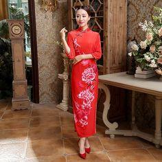 Red Chinese Bride Wedding Party Dress Women's Velvet Long Qipao Cheongsam Vintage Print Flowers Size S M L XL XXL XXXL T0015 #Affiliate
