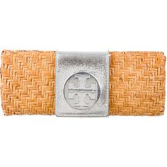 Pre-owned Tory Burch Rattan Clutch ($125) ❤ liked on Polyvore featuring bags, handbags, clutches, neutrals, straw clutches, preowned handbags, embellished handbags, embellished purses and silver metallic purse