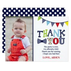 ONEderful Birthday Thank You Card with Photo - invitations custom unique diy personalize occasions 1st Birthday Boy Themes, 1st Birthday Parties, Birthday Ideas, Birthday Gifts, Photo Invitations, Birthday Party Invitations, Birthday Thank You Cards, Thank You Gifts, Baby Shower Decorations