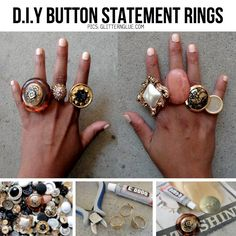 Button Statement Rings 15 Creative DIY Button Projects - Always in Trend | Always in Trend