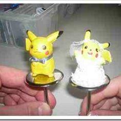 Pikachu wedding cake toppers! Pokemon <3 love it