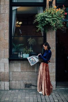 Velvet Skirt | London Fashion Week Street Style