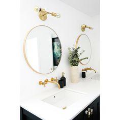 Cedar and Moss Brass Bathroom Vanity Bathroom Spa, Small Bathroom, Bathroom Ideas, Parisian Bathroom, Bathroom Canvas, Neutral Bathroom, Bathroom Goals, Washroom, Bathroom Cabinets
