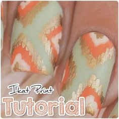 """Video tutorial  Ikat print nails .  I used the """"Pure Color 10"""" nail art detail brush from @whatsupnails  #ikatnails . Song: Honey (cover) by Mackenzie Johnson Video editing: Premiere Pro (no app) . ‼️FULL VIDEO ON MY YOUTUBE CHANNEL‼️ youtube.com/nailsbymiri ▶️"""