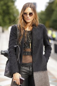 Love the leather trousers and sheer embellished top, hot x