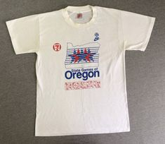 d65c8739ac6f Vintage NIKE T-shirt 1980 s  State Games of Oregon Grey Tag 7-Eleven  Collector Tshirt  Red Swoosh USA Made Tee 50 50 Medium Softy