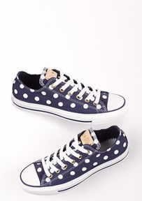 I want navy blue polka dot chuck taylors. But my Visa is finally paid off and taking a vacation. A paid-off vacation.