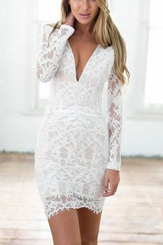 White Open Back Sexy Full Lace Dress from mobile - US$17.95 -YOINS