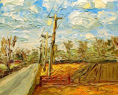 """Yes the Wind Does Blow Here 8"""" x 10"""" Palette Knife Oil"""