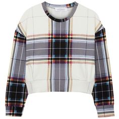 Finders Keepers Resistance Tartan Neoprene Sweatshirt (£36) ❤ liked on Polyvore featuring tops, hoodies, sweatshirts, sweaters, shirts, jumpers, pattern shirts, white sweat shirt, print shirts y plaid crop top