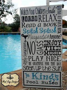 Custom Pool Sign, Vintage  Pool Rules Sign-Kings